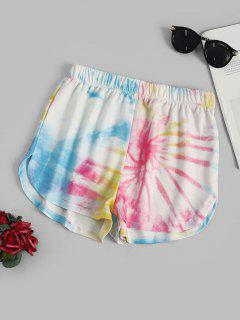 Tie Dye Dolphin Sweat Shorts - Yellow M