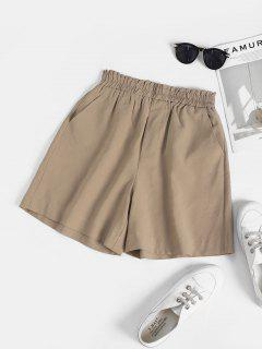 Ruffle High Waisted Pocket Loose Shorts - Light Coffee L