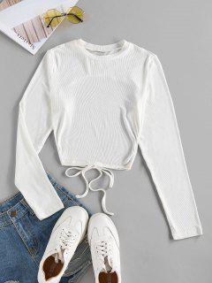 ZAFUL T-shirt En Tricot Auto-Noué Ouvert Au Dos - Blanc Xl
