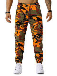 Pantalon Cargo Crayon Camouflage Imprimé Avec Multi-Poches - Orange 2xl
