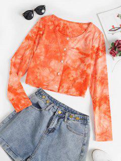 Button Up Tie Dye Crop Top - Light Orange M
