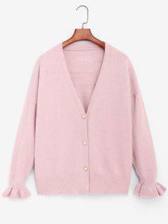 Slouchy Ruffled Cuffs Cardigan - Light Pink