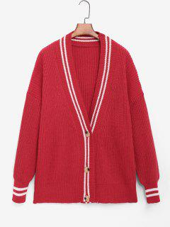 Striped Detail Cricket Tunic Cardigan - Red