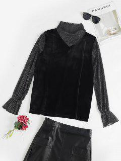 Flare Sleeves Velvet Mesh Panel T Shirt - Black M