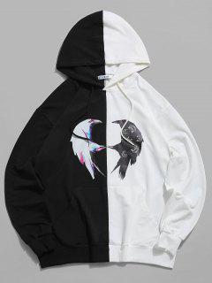 ZAFUL Two Tone Bird Print Hoodie - Multi L