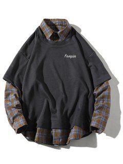 Sweat-shirt Panneau à Carreaux à Goutte Epaule 2 En 1 - Cuirassé Gris 2xl