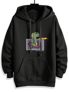 Cartoon Dinosaur Graphic Front Pocket Fleece Lined Hoodie - Black L