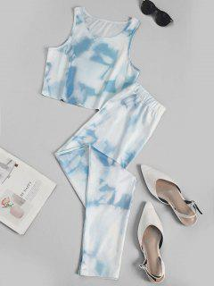 Blue Sky Crop Top And Pants Sports Suit - Light Blue M