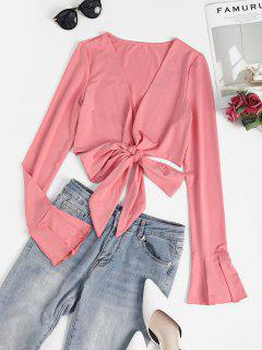 Flare Sleeve Crop Wrap T-shirt - Light Pink S