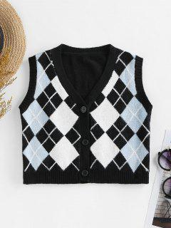 ZAFUL Argyle Button Up Sleeveless Cardigan - Black M