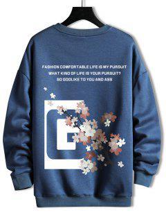 Rundhalsausschnitt Blumen Slogan Grafik Sweatshirt - Blaubeere 2xl
