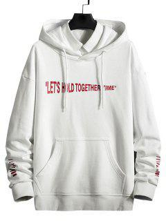 Slogan Striped Print Kangaroo Pocket Hoodie - White M