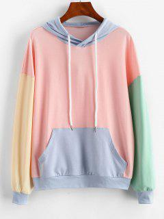 ZAFUL Drawstring Colorblock Kangaroo Pocket Hoodie - Multi-a S