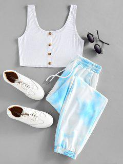 ZAFUL Crop Top And Drawstring Jogger Pants Set - Light Sky Blue S