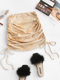 ZAFUL Cinched Side Ribbed Tie Dye Skirt - Light Brown S