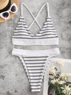 ZAFUL Striped Ribbed Scalloped High Leg Bikini Swimwear - White M