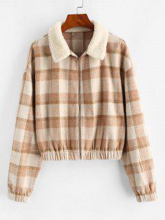 ZAFUL Fur Collar Plaid Wool Blend Coat - Brown Sugar S