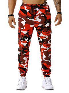 Camo Print Drawstring Cargo Jogger Pants - Red 2xl