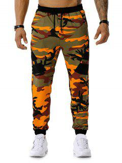 Camouflage Print Drawstring Sports Pants - Orange L