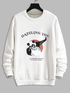 Sweat-shirt Graphique Dessin Animé Amusant Imprimé - Blanc Xs