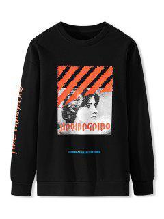 Sweatshirt Imprimé En Lettres à Col Round - Noir Xs