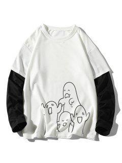 Sweat-shirt Fantôme Animé Imprimé à Manches De Docteur - Blanc 4xl