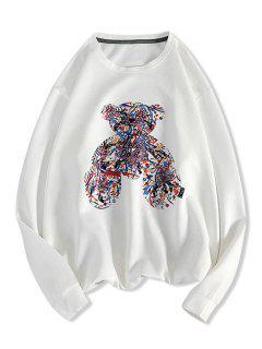 Let's Do It Graffiti Bear Pattern Sweatshirt - White L