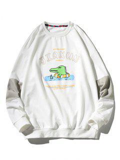 Cartoon Dinosaur Slogan Print Crew Neck Sweatshirt - White M