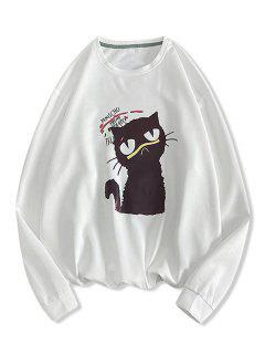 Sweat-shirt Lettre Chat Imprimé - Blanc L