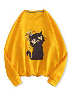 Letter Cat Print Pullover Sweatshirt - Yellow M