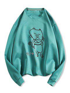 Sweat-shirt à Motif Chat Cartoon - Bleu Verdâtre L