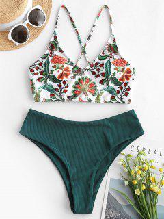ZAFUL Plant Print Ribbed Lace-up Tankini Swimwear - Deep Green M