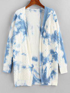 Tie Dye Mixed Knit Drop Shoulder Cardigan - Light Blue L