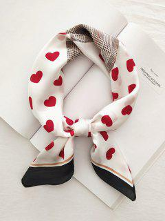 Heart Plaid Printed Satin Square Scarf - Red