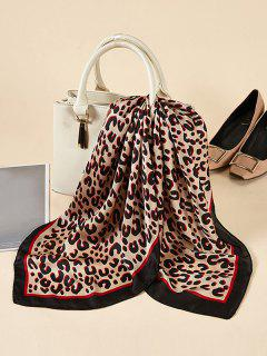Leopard Printed Satin Square Scarf - Deep Red