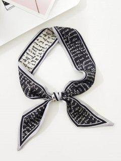 Letter Printed Satin Narrow Scarf - Black