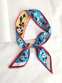 Floral Letter Printed Satin Narrow Scarf - Baby Blue