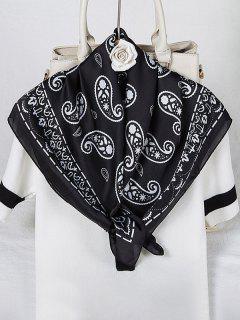 Paisley Printed Satin Square Scarf - Black
