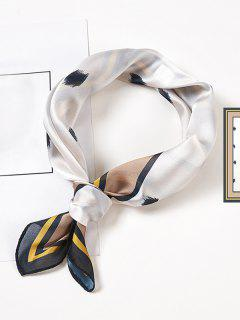 Brief Printed Satin Square Scarf - White