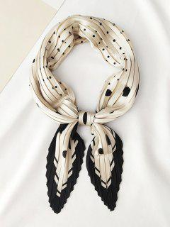 Dots Printed Satin Pleated Rhombic Scarf - Crystal Cream