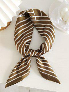 Striped Printed Satin Square Scarf - Brown