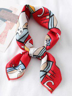 Cute Kitten Printing Satin Square Scarf - Red