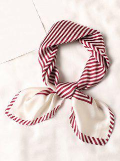 Striped Small Square Scarf - Red
