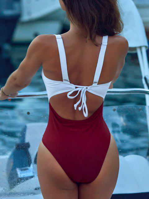 online ZAFUL Color Blocking Criss Cross Cut Out Swimsuit - RED WINE M Mobile