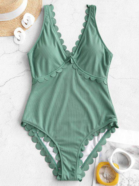 fashion ZAFUL Ribbed Scalloped Open Back One-piece Swimsuit - SEA TURTLE GREEN XL Mobile