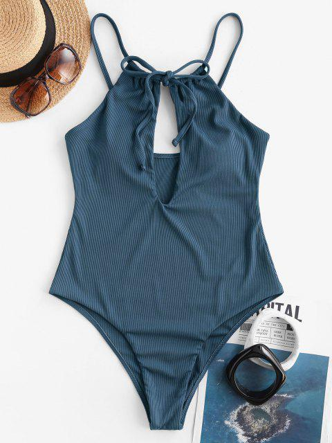 ladies ZAFUL Ribbed Tie Cutout One-piece Swimsuit - DEEP BLUE S Mobile