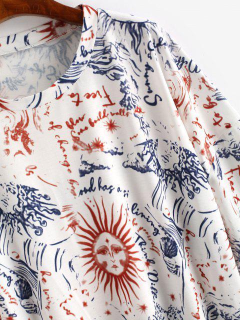unique Drop Shoulder Suns Print Tee Dress - MULTI S Mobile