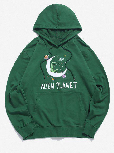 chic Kangaroo Pocket Alien Planet Drawstring Hoodie - DEEP GREEN S Mobile