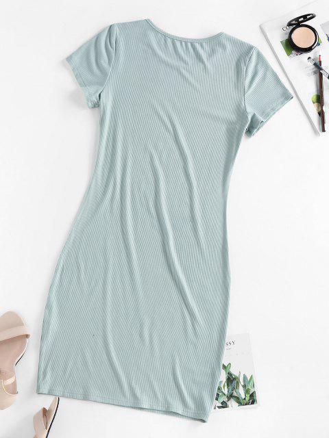 shop ZAFUL Ribbed Bodycon Mini Dress - LIGHT GREEN L Mobile
