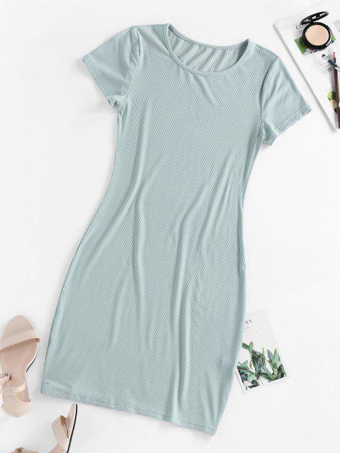 fashion ZAFUL Ribbed Bodycon Mini Dress - LIGHT GREEN M Mobile